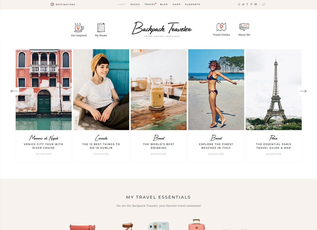Backpack Traveler - Modern Travel Blog   Website Template