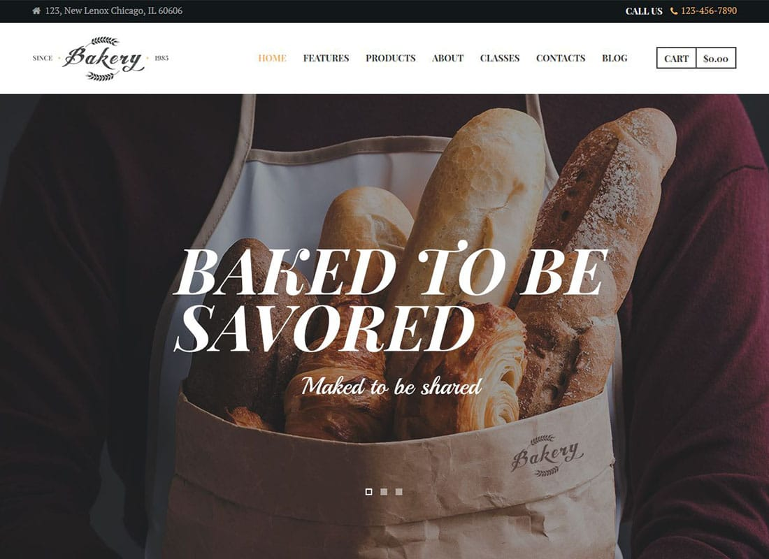 Bakery, Cafe & Pastry Shop WordPress Theme Website Template