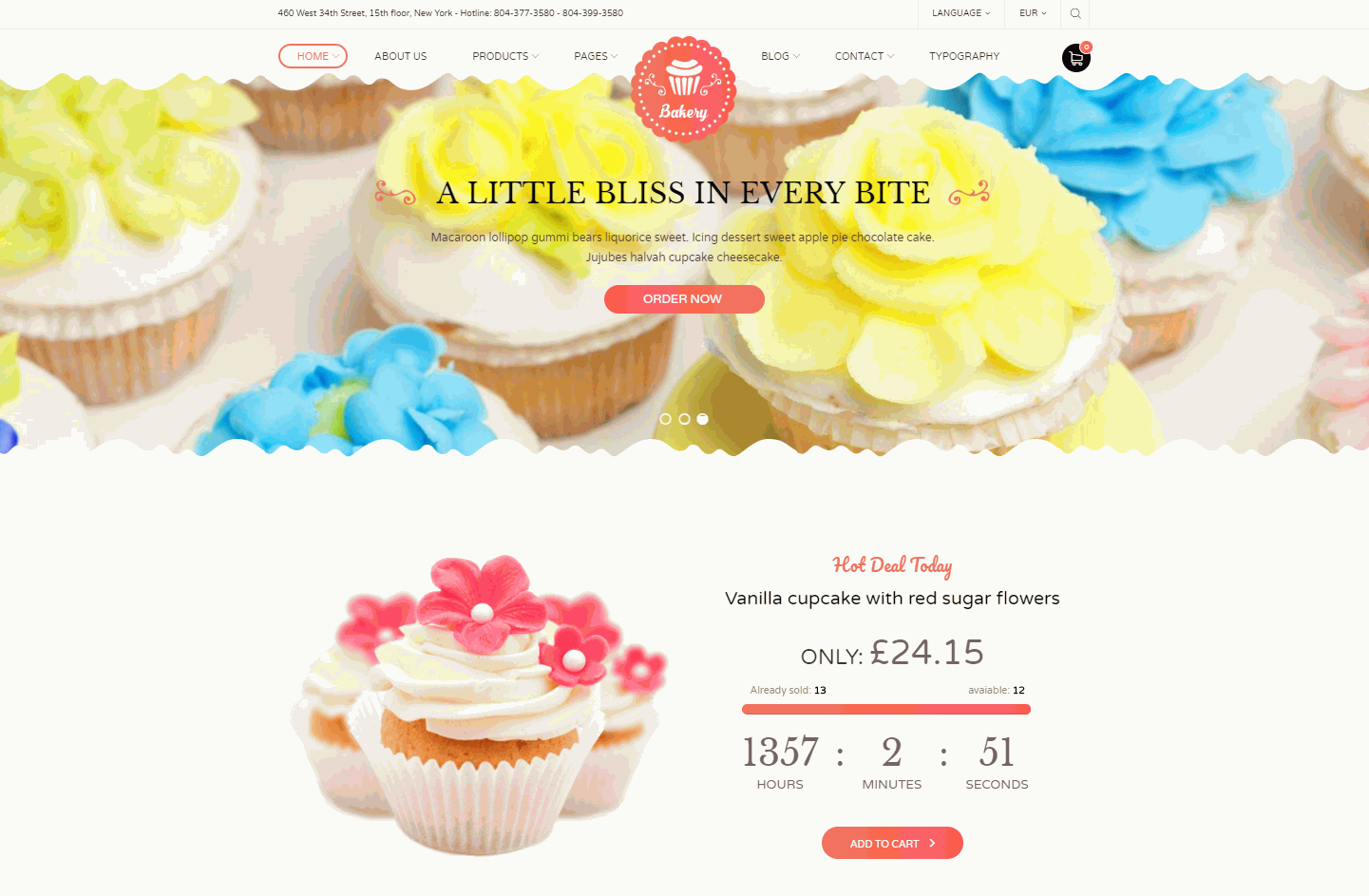 Bakery Premium WordPress Theme Website Template