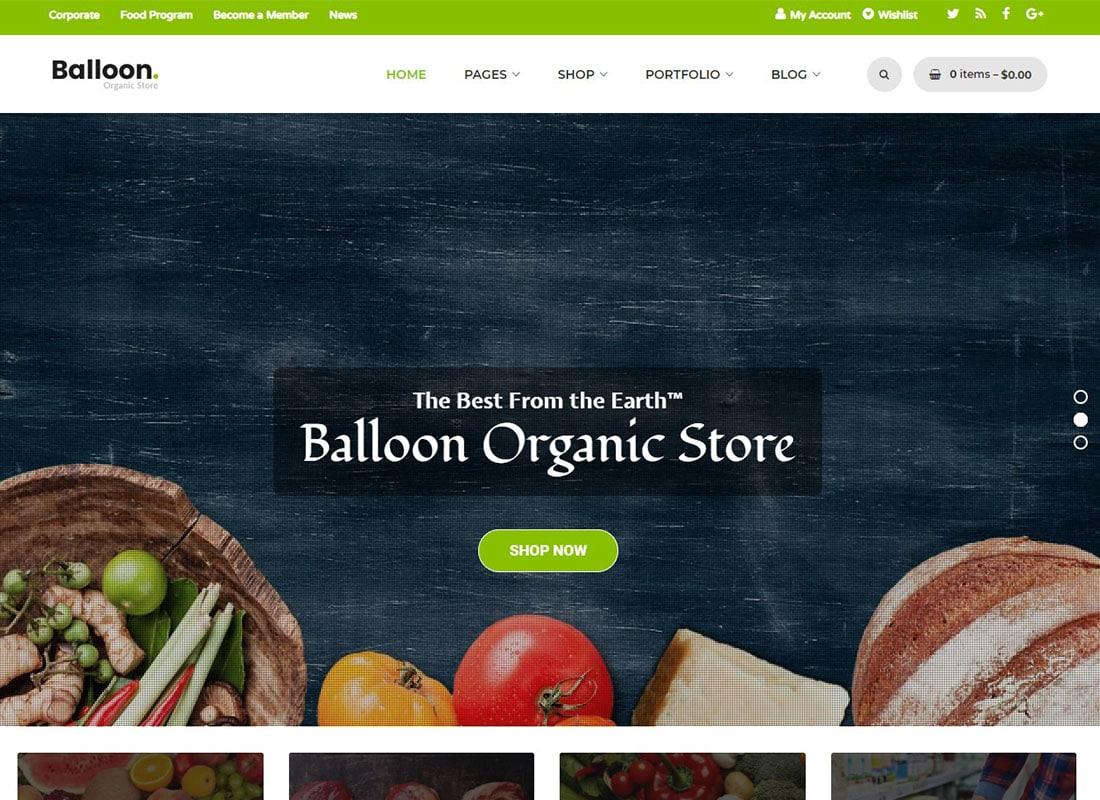 Balloon | Organic Farm & Food Business WordPress Themes Website Template
