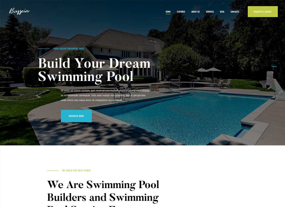 Bassein | Swimming Pool Service WordPress Theme Website Template