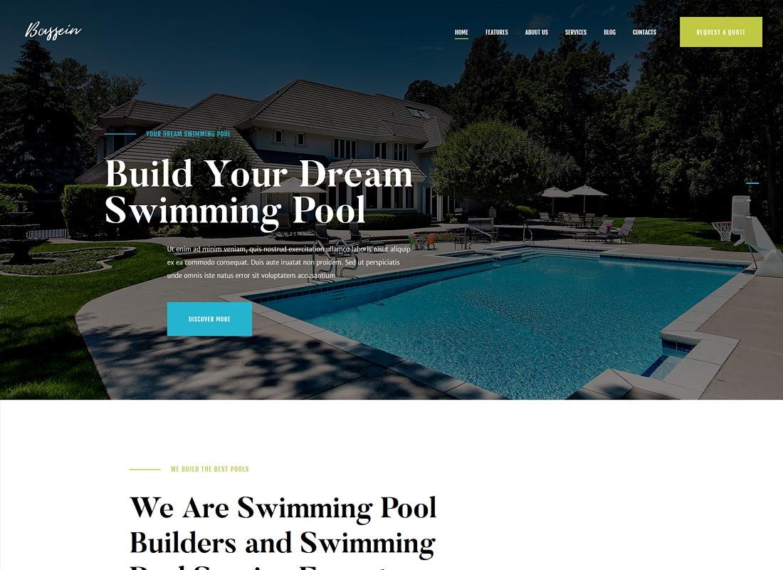 Bassein | Swimming Pool Cleaning & Maintenance Service WordPress Theme Website Template