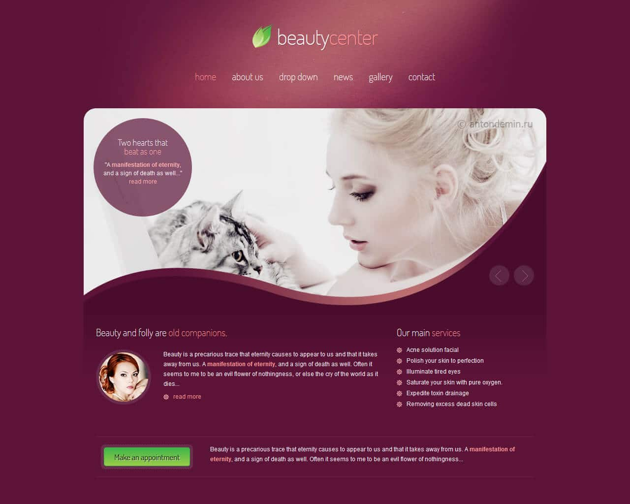 Beauty Center Website Template