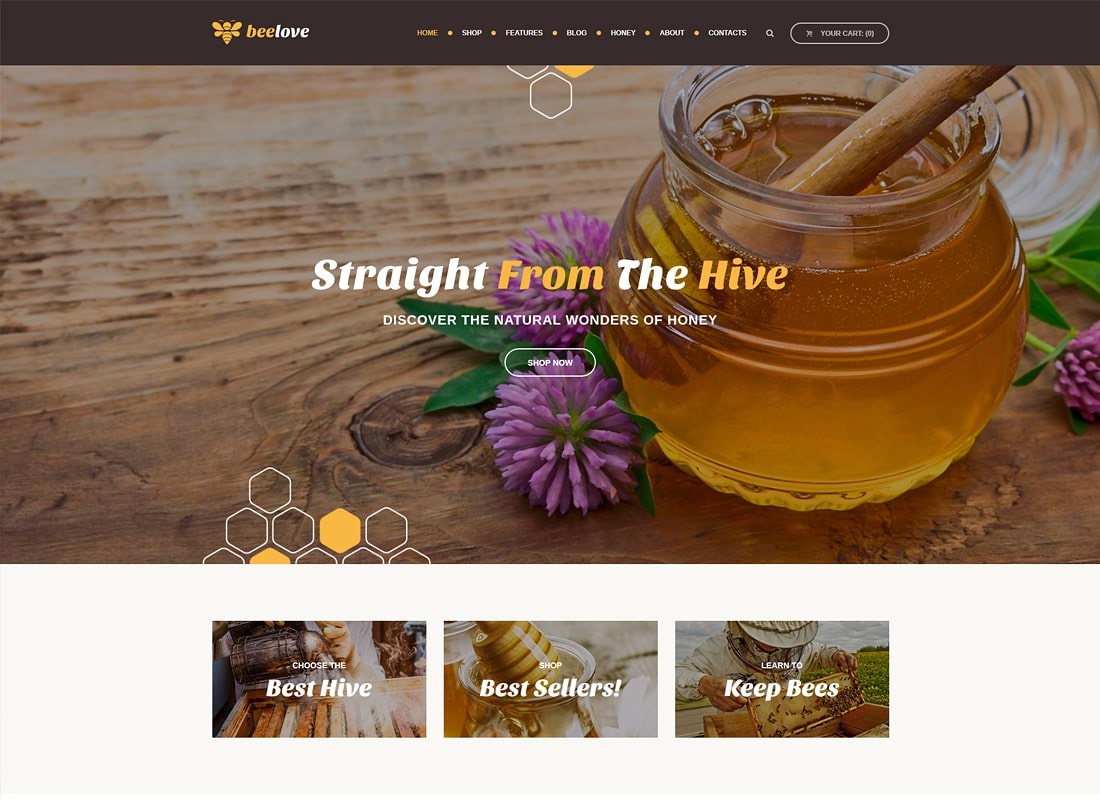 Beelove | Honey Production and Online Store WordPress Theme Website Template