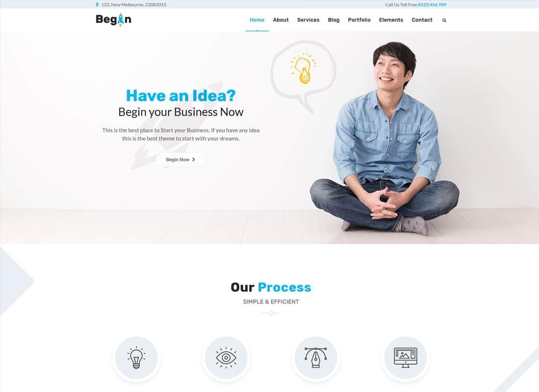 Begin Startup   Business, Startups Theme Website Template