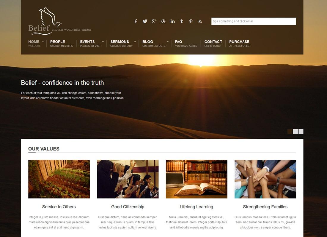 Belief | Church WordPress Theme Website Template