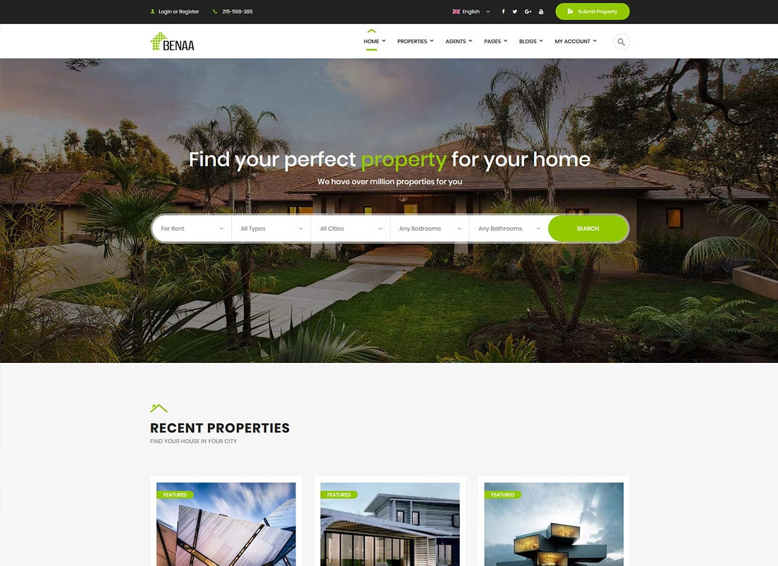 Benaa - Real Estate WordPress Theme Website Template
