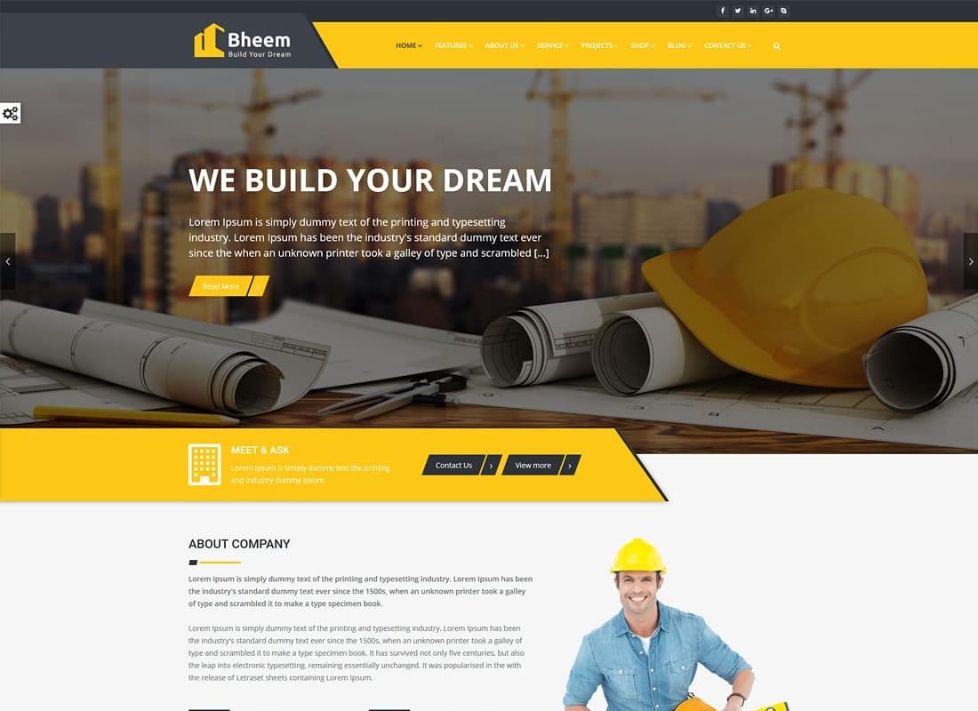 Bheem - Construction WordPress Theme RTL Ready Website Template