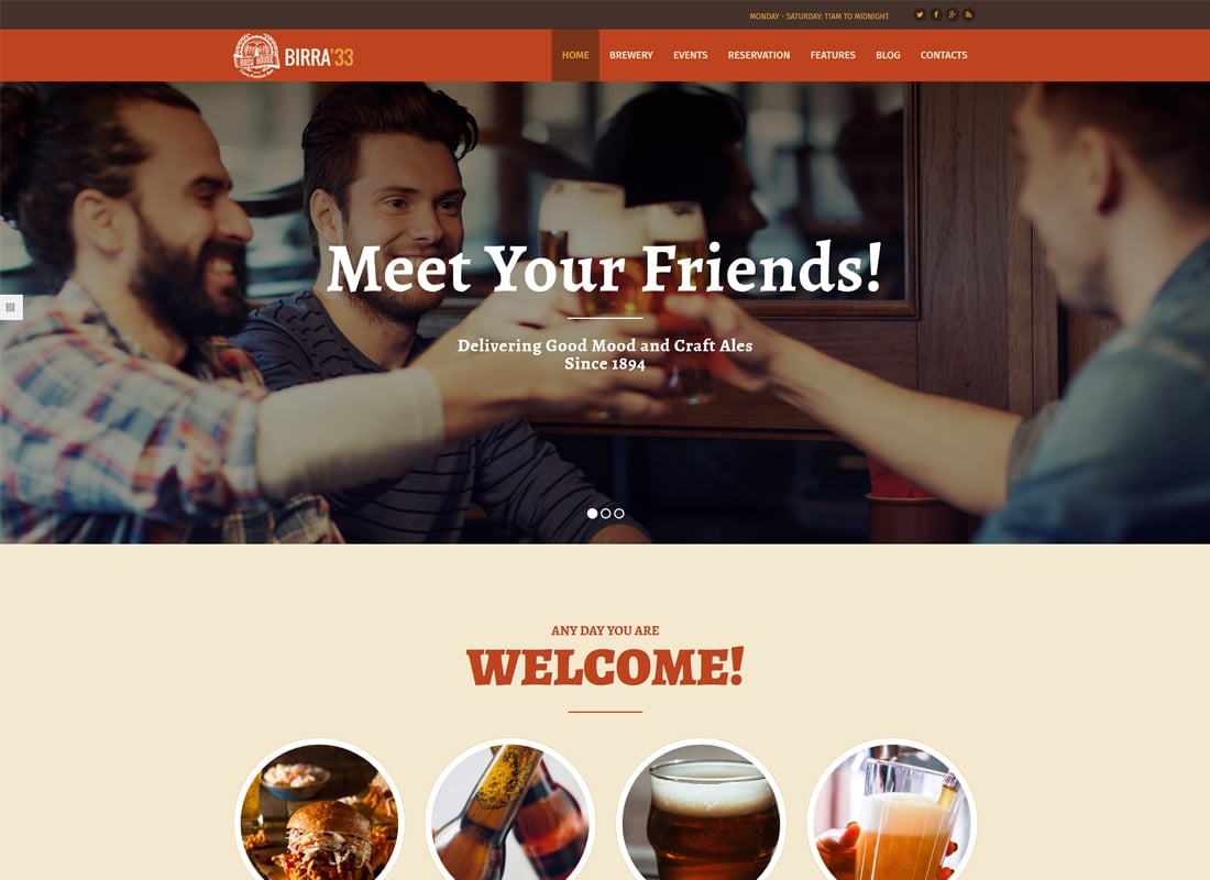 Birra33 - Brewery Brewpub and Craft Beer Shop WordPress Theme   Website Template
