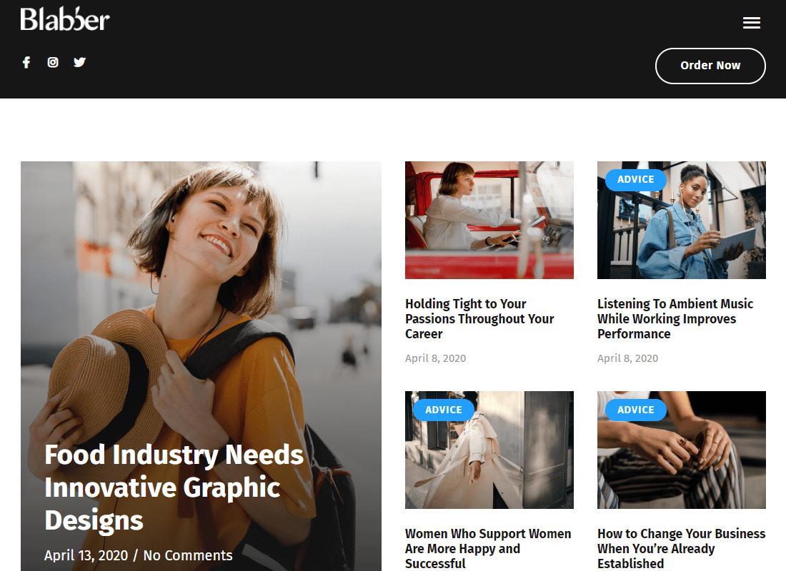 Blabber - Modern Blog & Magazine Elementor Template Kit Website Template