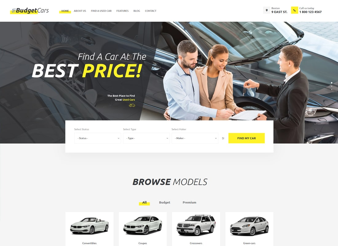 Budget Cars | Used Car Dealer & Store WordPress Theme   Website Template