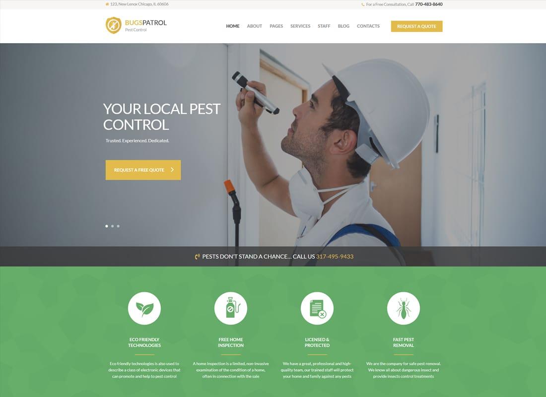 BugsPatrol | Pest Control Services WordPress Theme Website Template