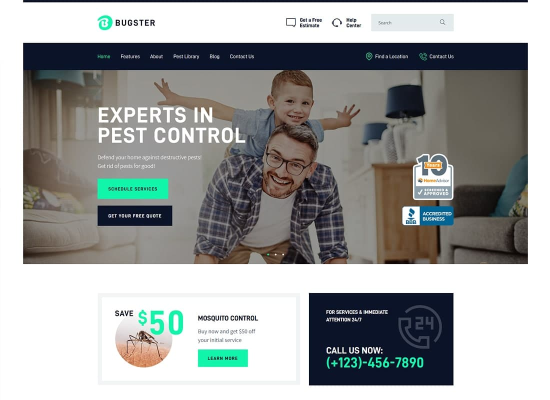 Bugster | Bugs & Pest Control WordPress Theme for Home Services Website Template