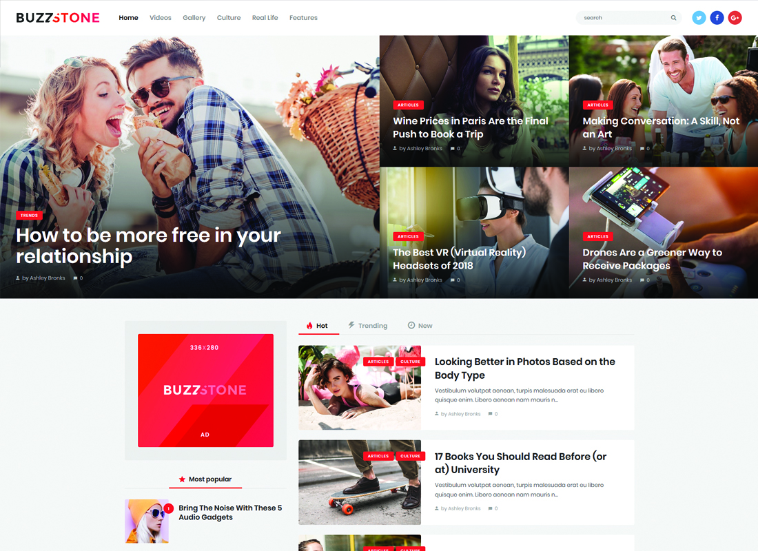 Buzz Stone | Magazine & Viral Blog WordPress Theme Website Template