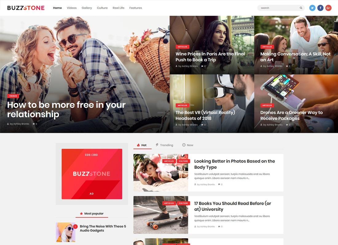 Buzz Stone   Magazine & Viral Blog WordPress Theme Website Template