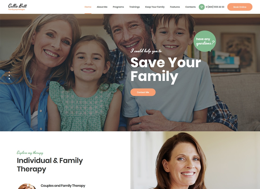 Callie Britt | Family Counselling Psychology WordPress Theme   Website Template
