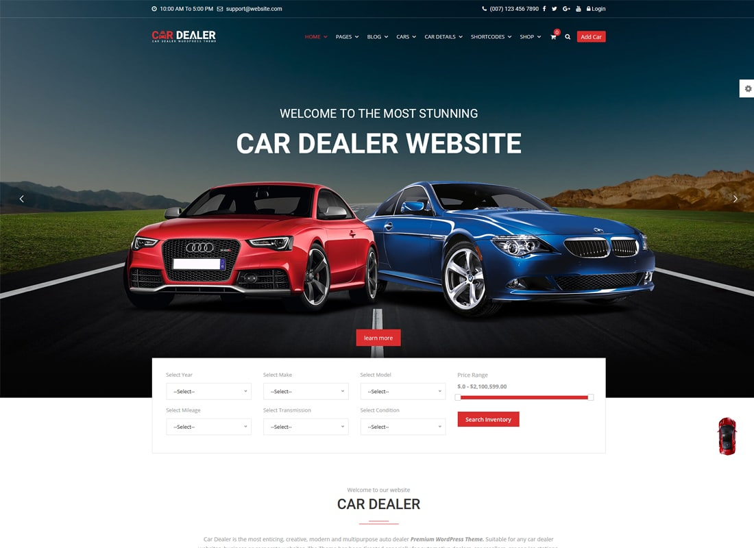 Car Dealer - The Best Car Dealer Automotive Responsive WordPress Theme   Website Template