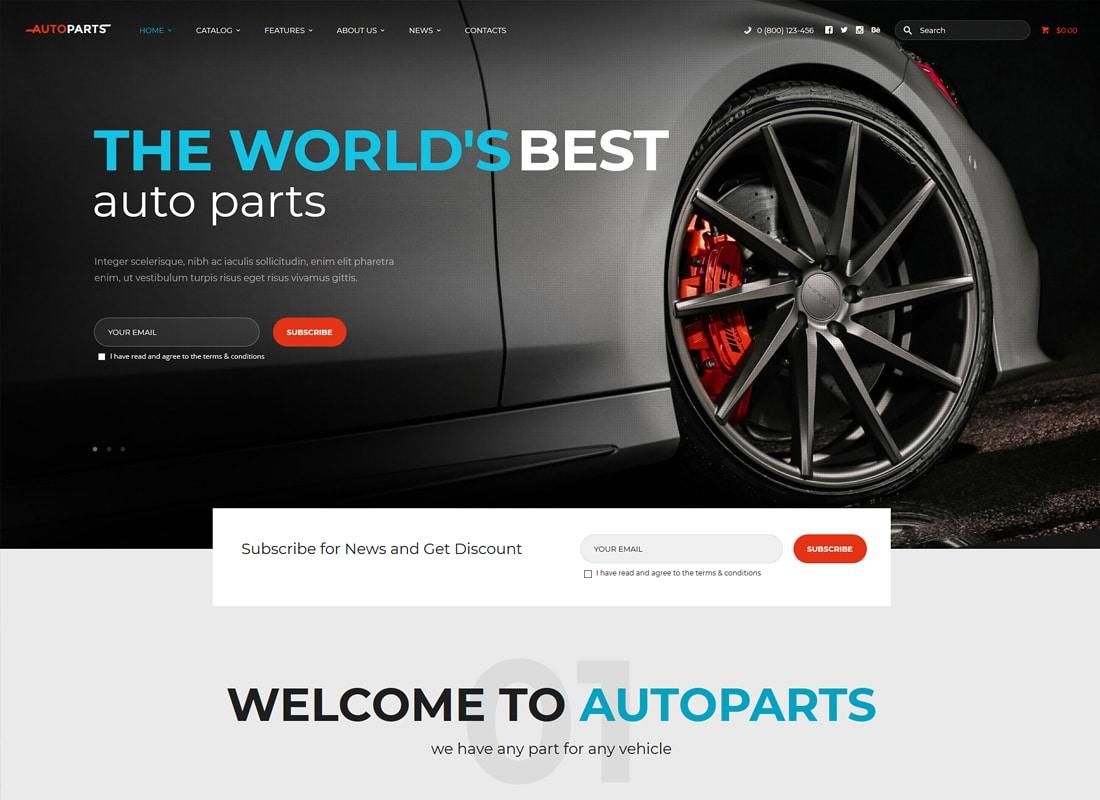 AutoParts | Car Parts Store & Auto Services WordPress Theme Website Template