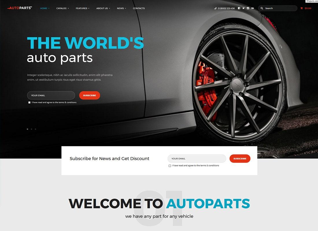 Car Parts Store & Auto Services WordPress Theme + Elementor Website Template