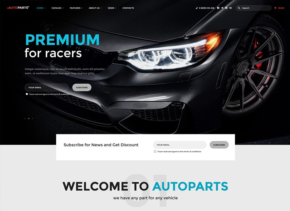 Car Parts Store & Auto Services WordPress Theme Website Template