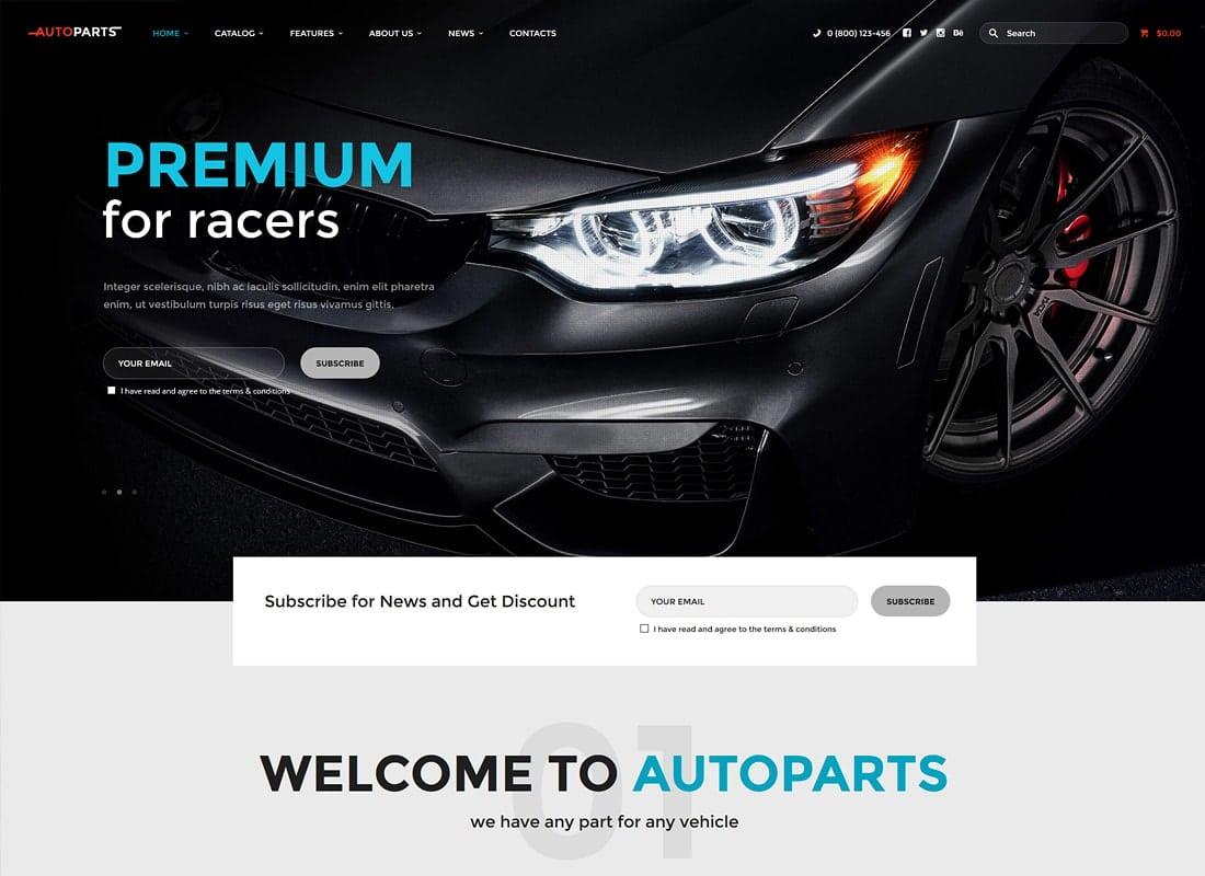 Car Parts Store & Auto Services WordPress Theme Website Template