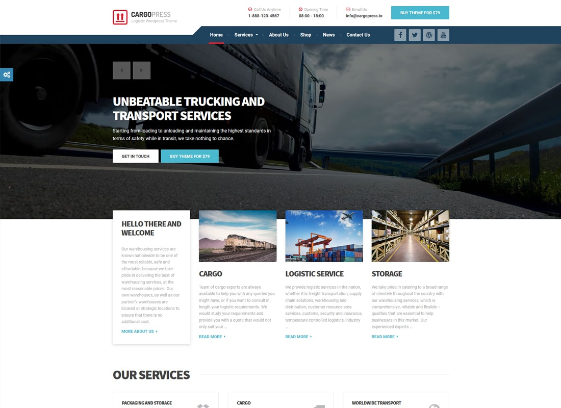 CargoPress - Logistic, Warehouse & Transport WP Website Template