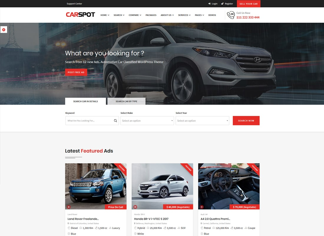 CarSpot – Automotive Car Dealer WordPress Classified Theme   Website Template