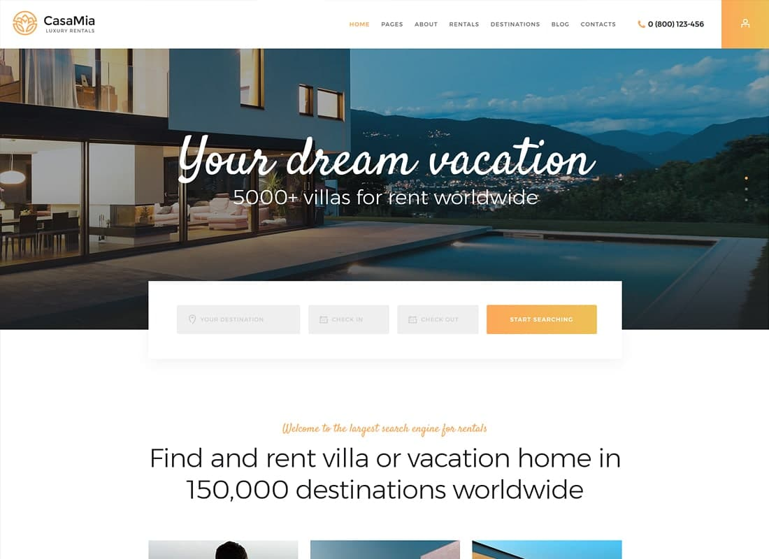 CasaMia | Property Rental WordPress Theme Website Template