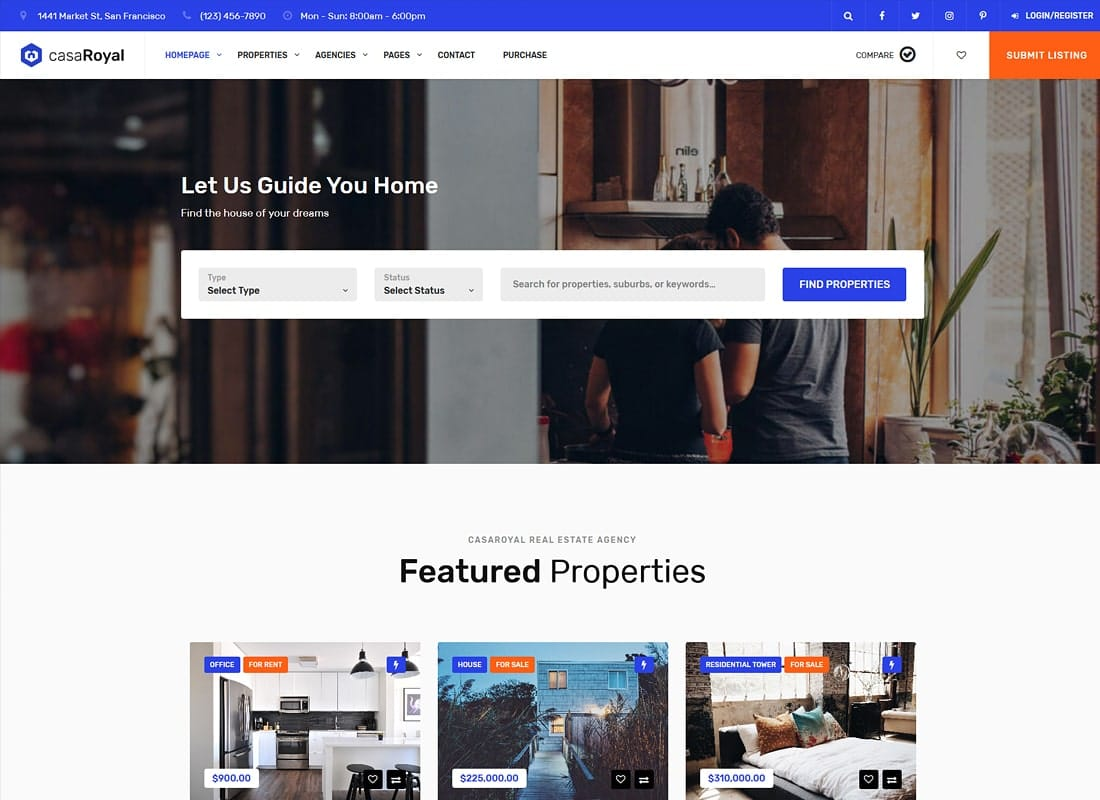 casaRoyal - Real Estate WordPress Theme Website Template