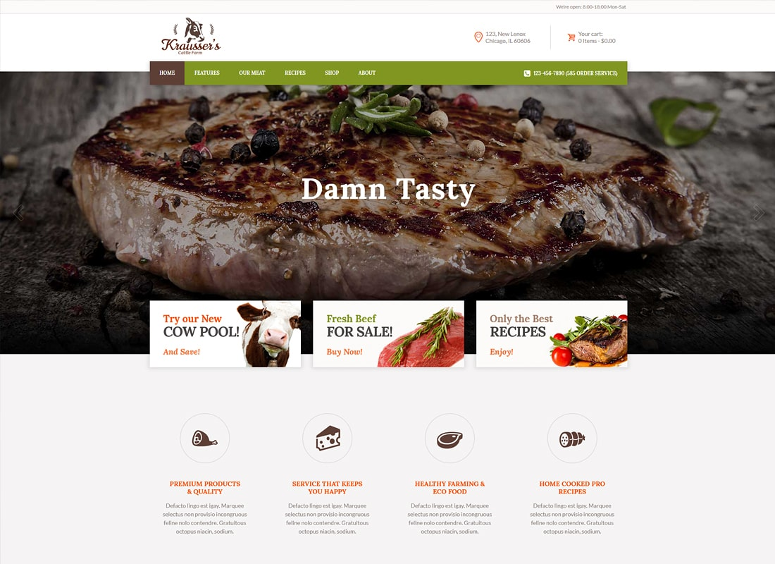 Krausser's | Cattle Farm & Produce Market WordPress Theme Website Template
