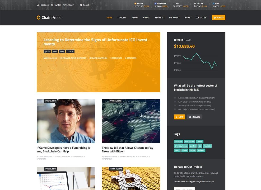 ChainPress | Financial WordPress Business Blog Theme Website Template
