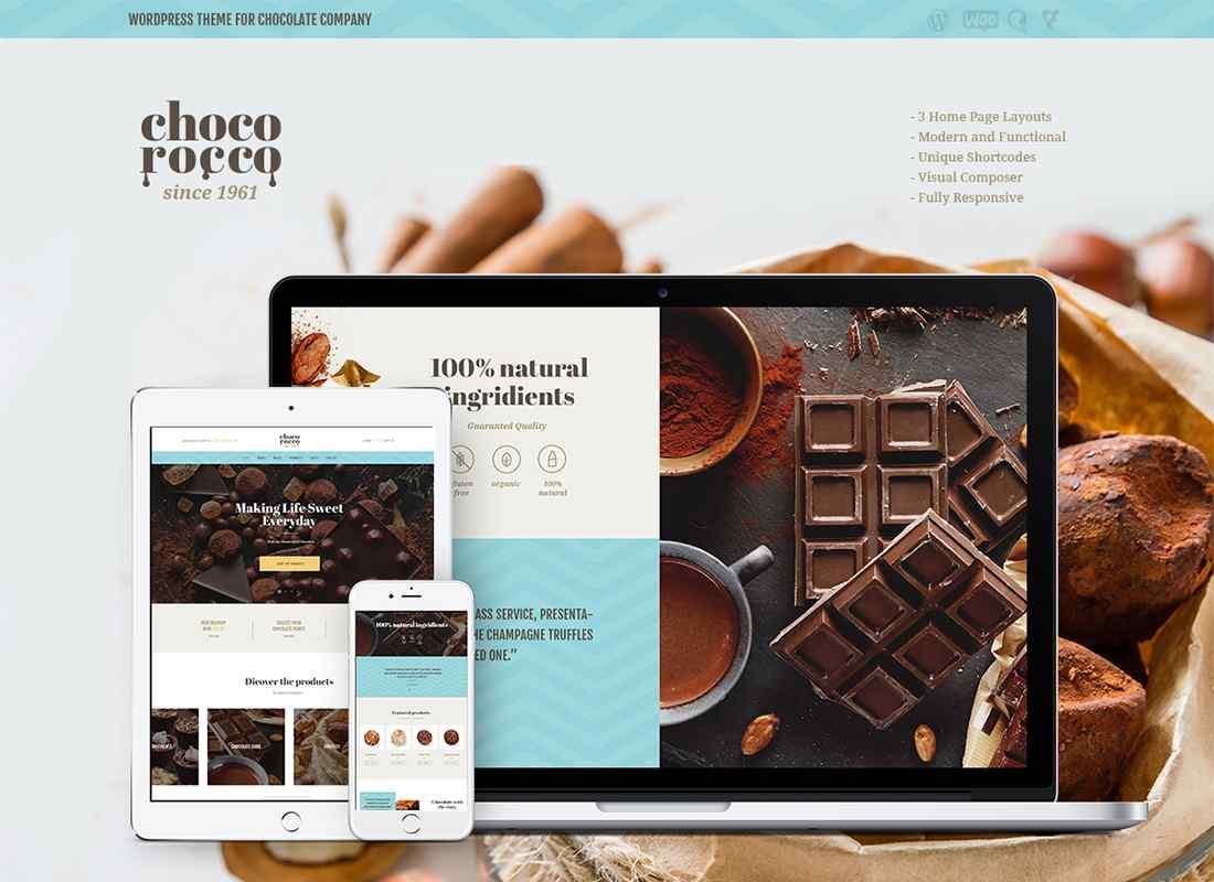 ChocoRocco | Chocolate Company WordPress Theme Website Template
