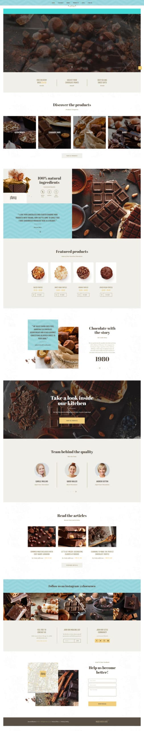 ChocoRocco | Chocolate Sweets & Candy Store WordPress Theme Website Template