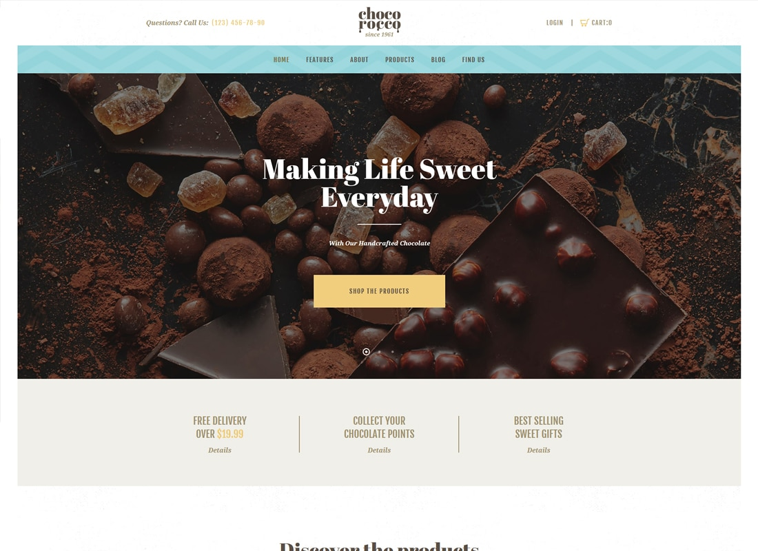 ChocoRocco - Chocolate Company WordPress Theme Website Template
