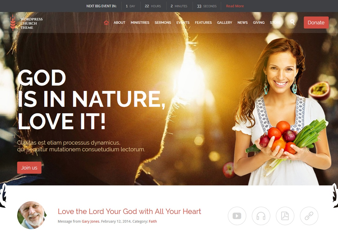 Church and Events | Churches and Events WordPress Theme Website Template