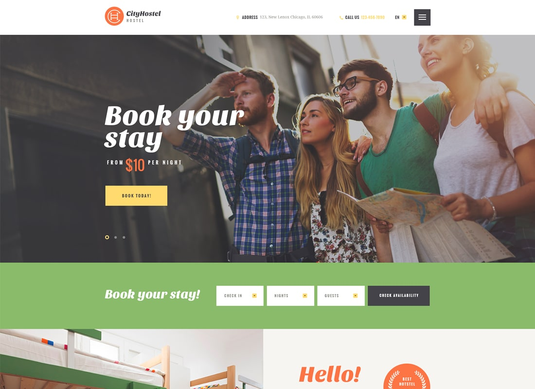 City Hostel | A Travel & Hotel Booking WordPress Theme   Website Template