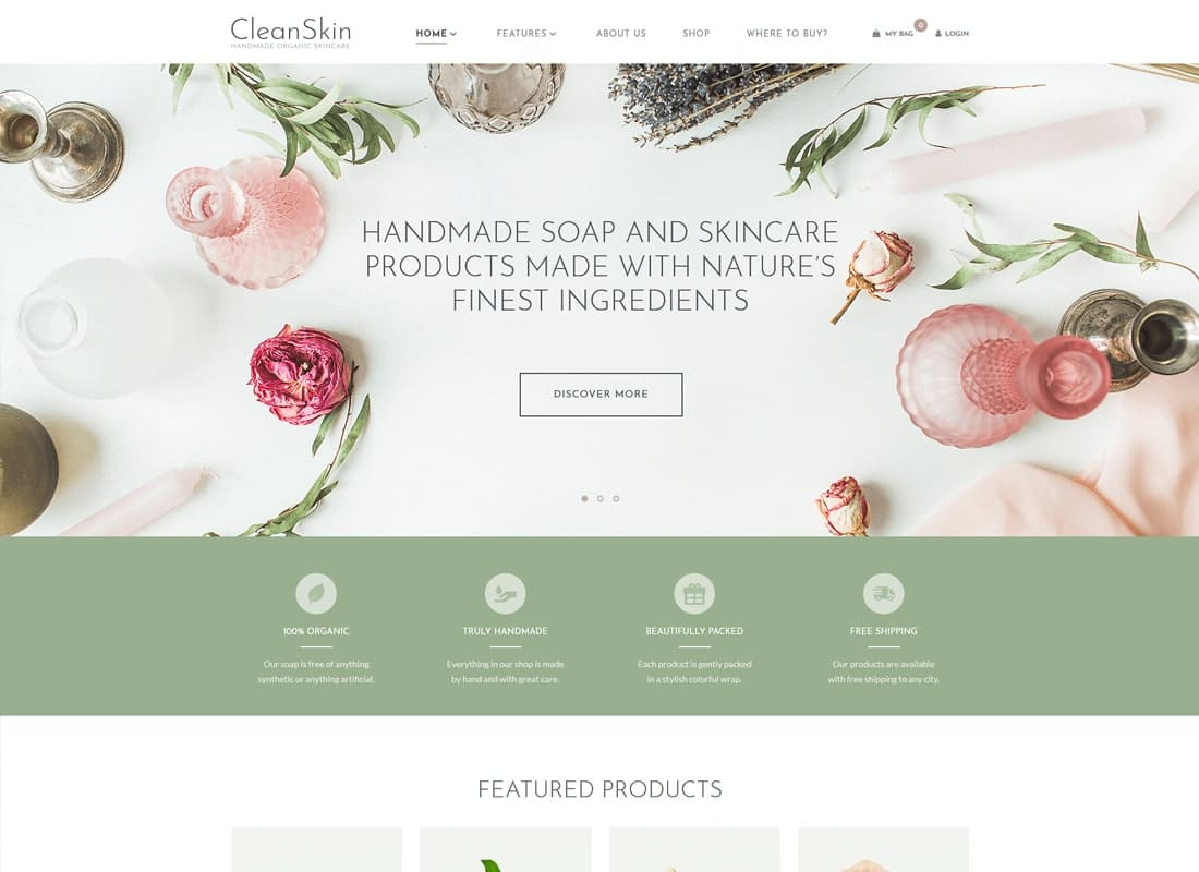 CleanSkin | Handmade Organic Soap & Natural Cosmetics Shop WordPress Theme Website Template