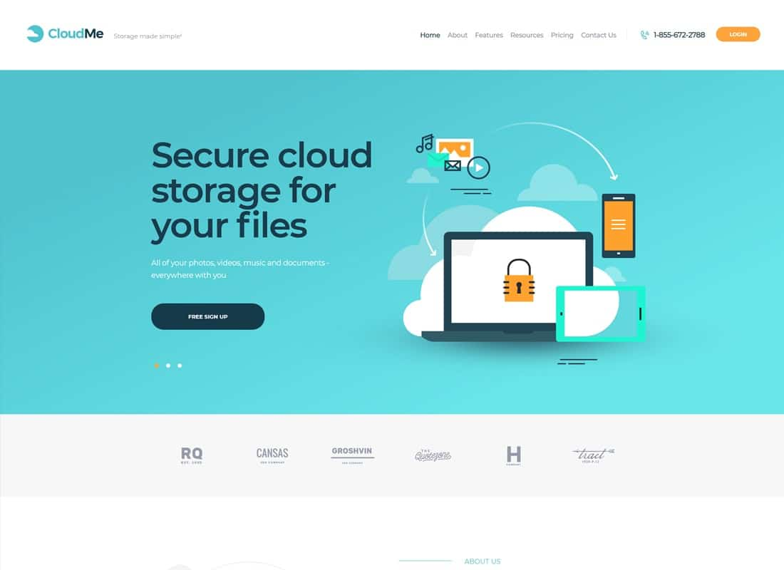 CloudMe   Cloud Storage & File-Sharing Services WordPress Theme Website Template