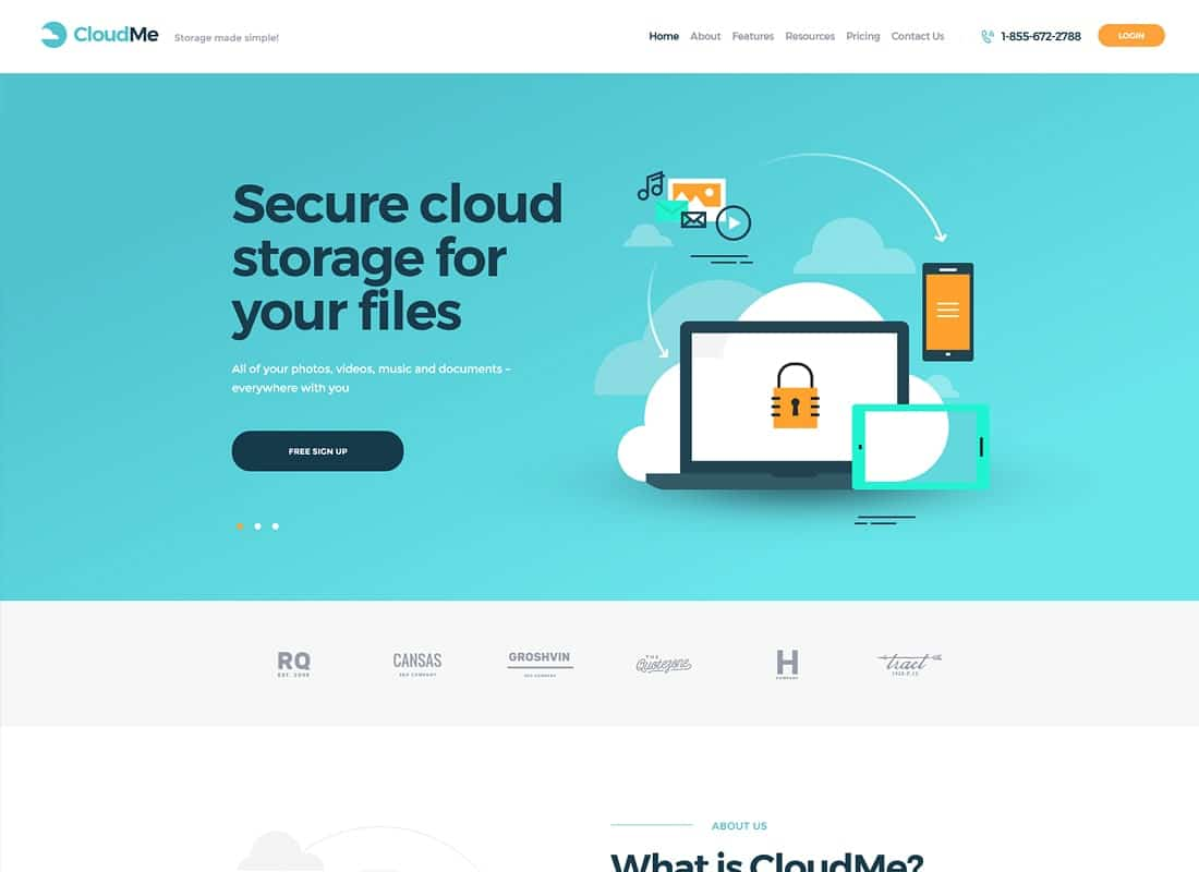 CloudMe | Cloud Storage & File-Sharing Services WordPress Theme Website Template