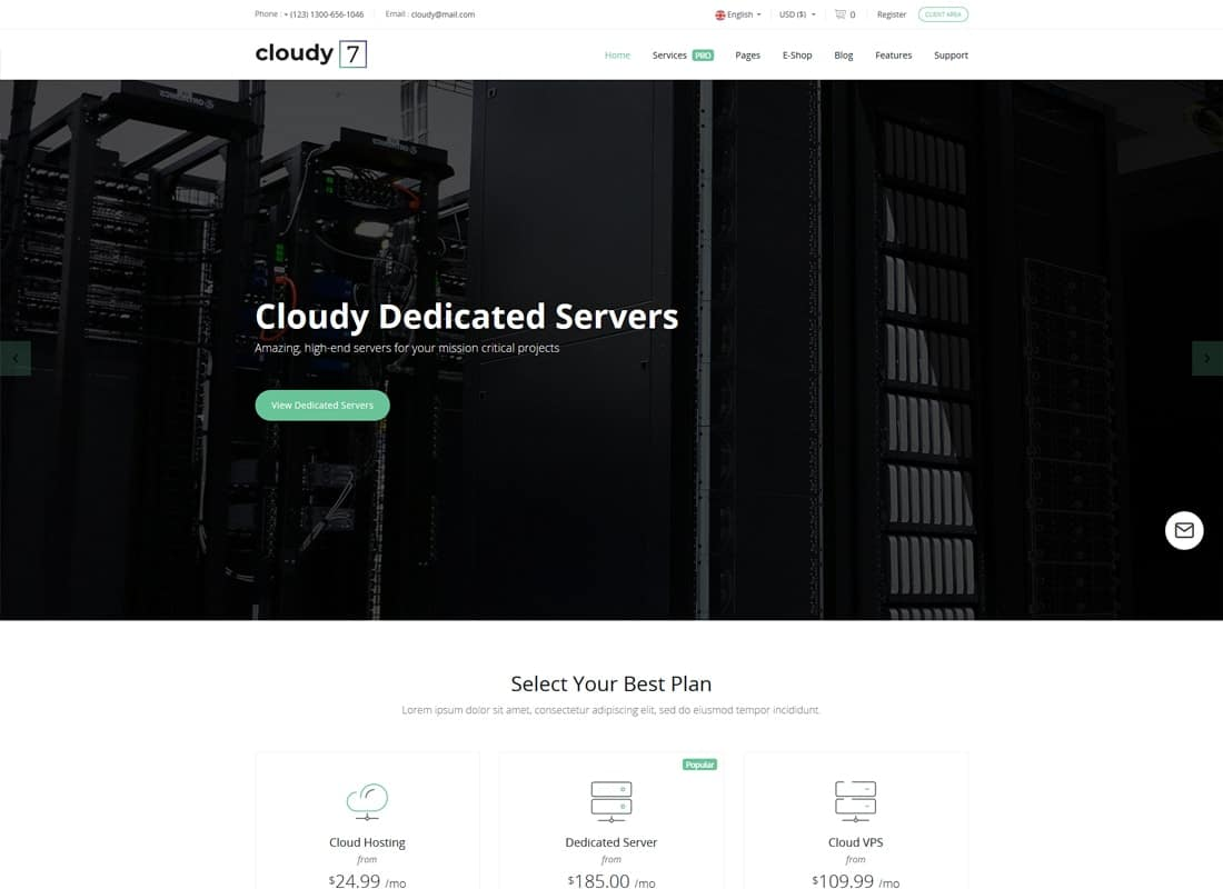 Cloudy 7 - Hosting Service & WHMCS Template Website Template