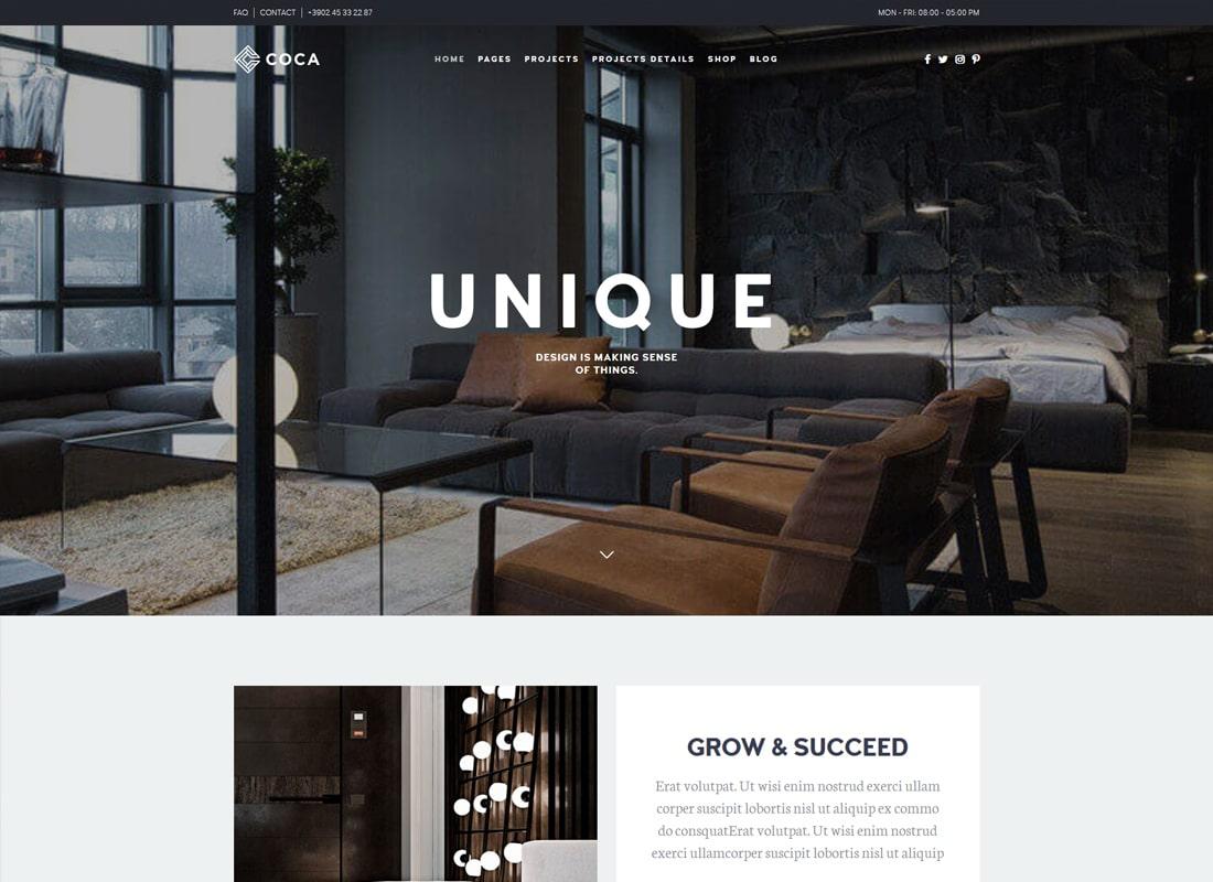Architecture Coca | Interior Design and Architecture WordPress Architecture Website Template