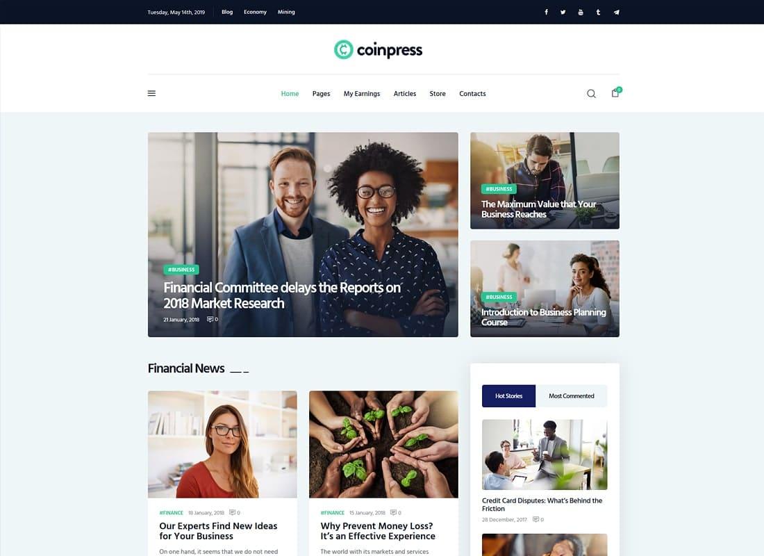 Coinpress | Cryptocurrency Magazine & Blog WordPress Theme Website Template