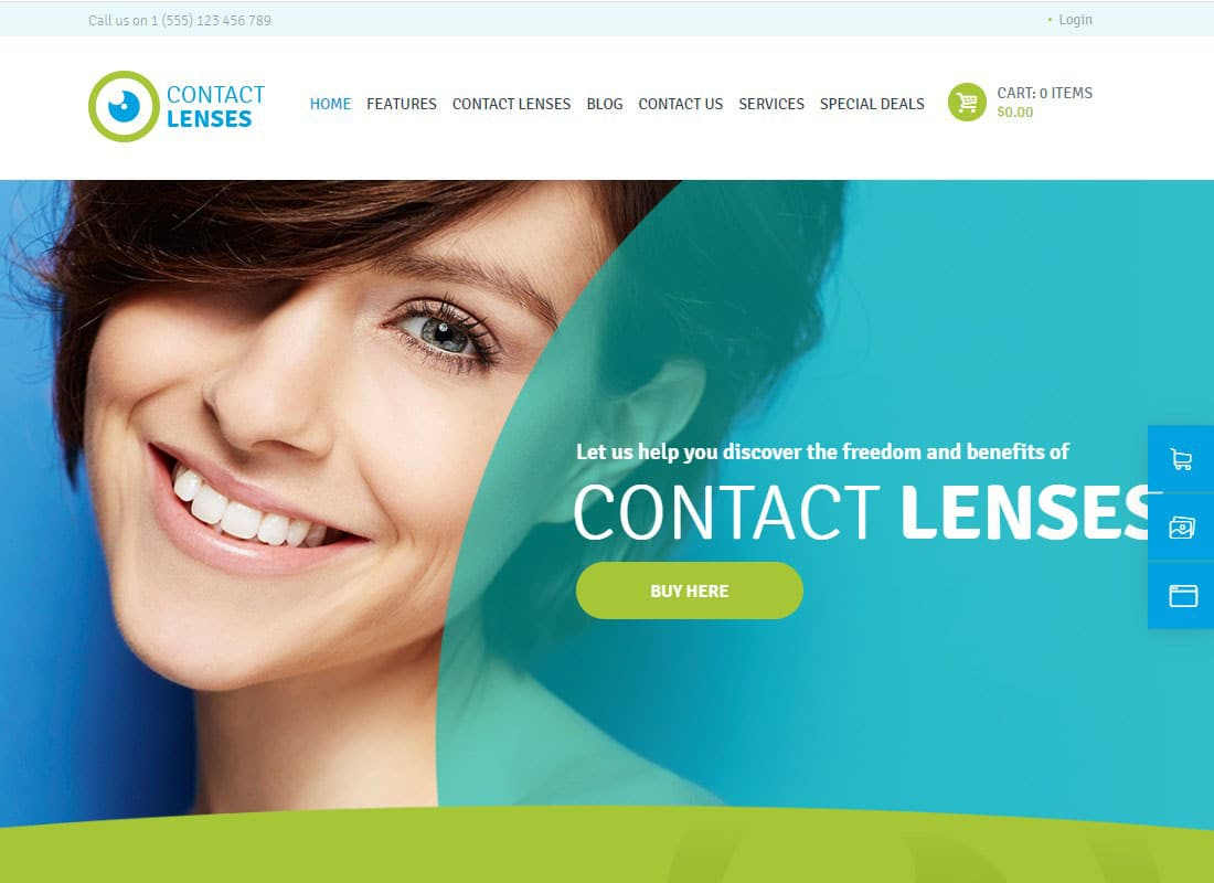 Contact Lenses Store & Vision Therapy Clinic Doctor WordPress Theme Website Template