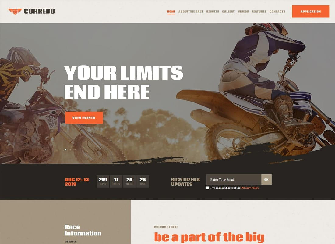 Corredo | Bike Race & Sports Events WordPress Theme Website Template