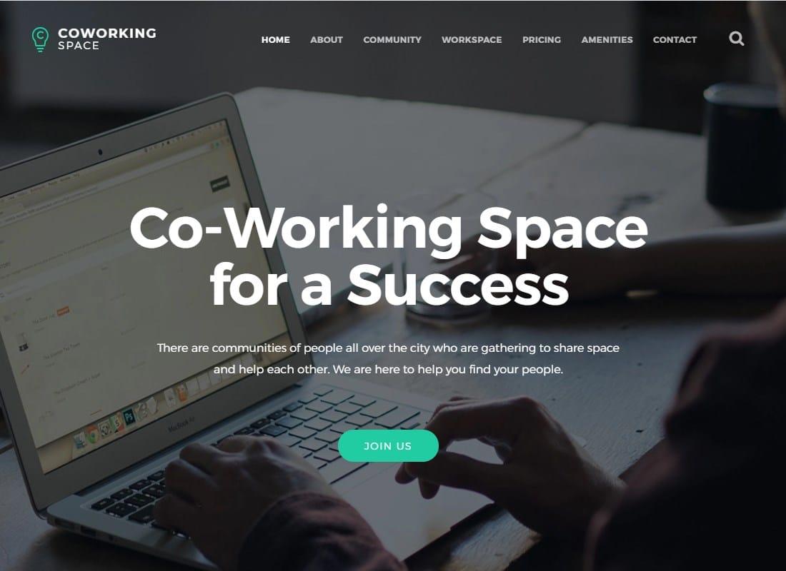 Coworking - Open Office & Creative Space WordPress Theme Website Template