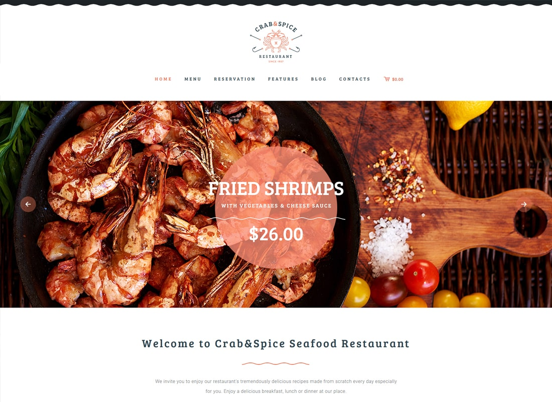 Crab & Spice | Restaurant and Cafe Food WordPress Theme Website Template