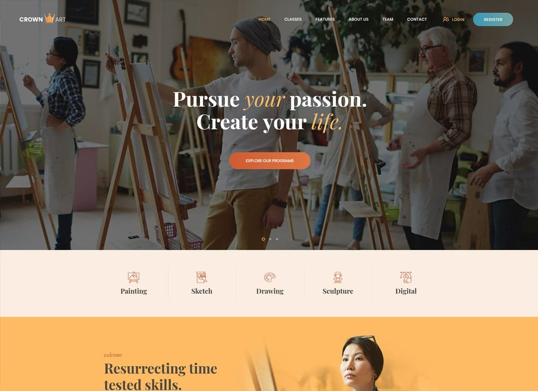 Crown Art | Arts School WordPress Theme   Website Template