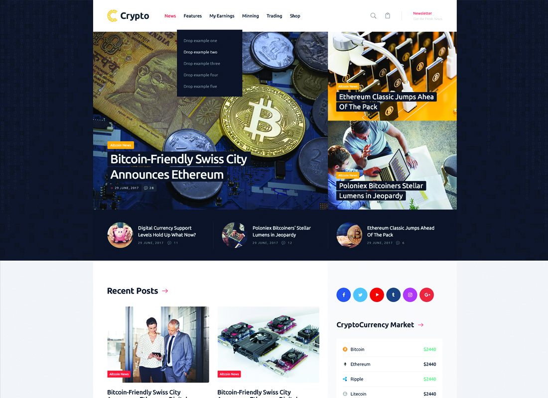 Crypton | A Multi-Purpose Cryptocurrency WordPress Theme Website Template