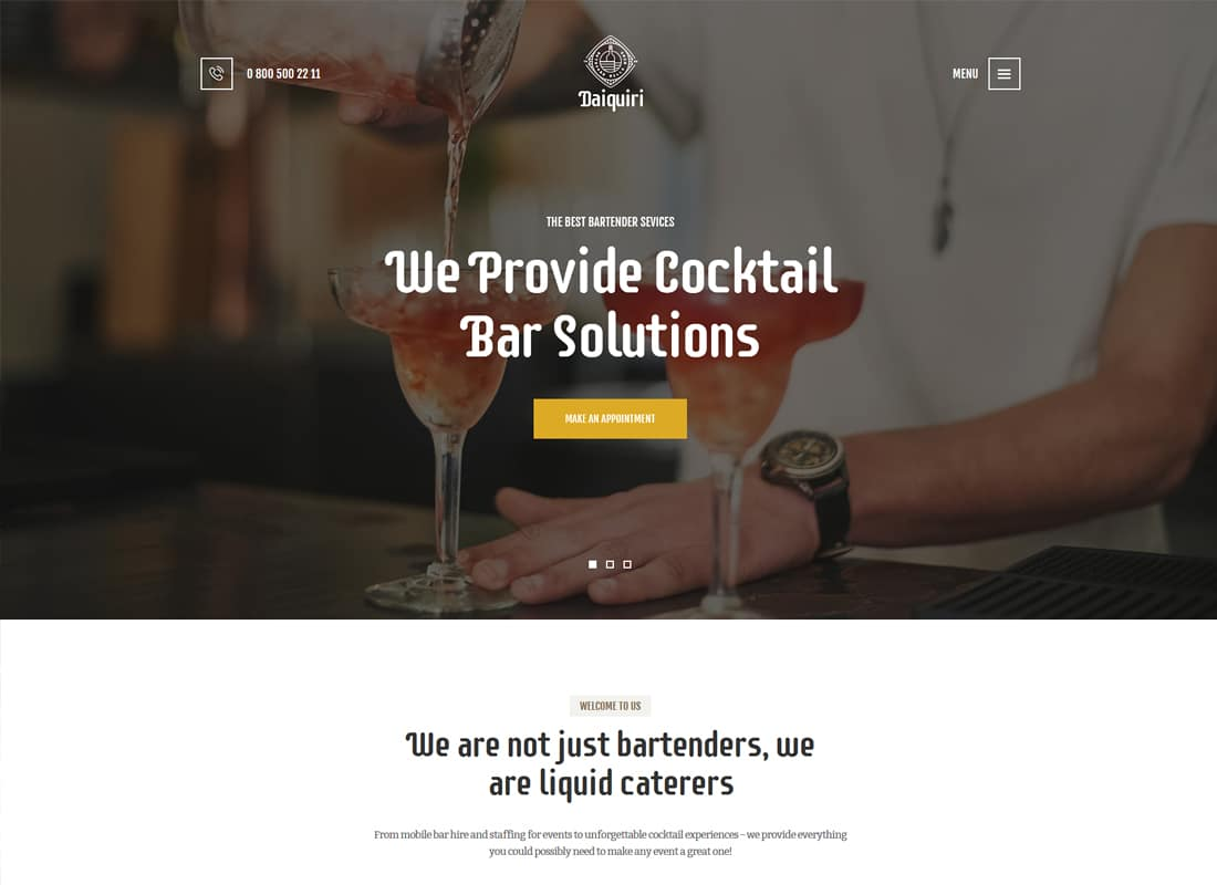 Daiquiri - Bartender Services & Catering WordPress Theme Website Template
