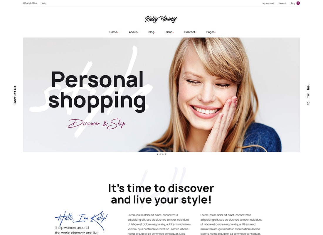 Kelly Young - Personal Stylist WordPress Theme Website Template